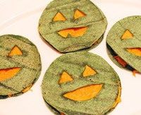 halloween food, pumpkin quesadillas