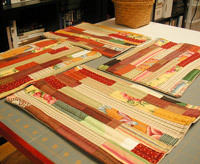 thanksgiving crafts, handmade crazy quilt placemats