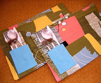 Thanksgiving crafts, handmade patch pocket placemat
