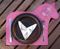 thanksgiving crafts, handmade gingham horse placemat