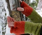hands wearing knit gloves hold bird feeder