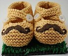 Knit Moustache Baby Booties