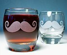 etched moustache glasses