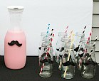milk bottle and glasses with felt moustache