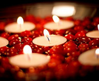 Thanksgiving tablescape idea using cranberries and candles