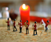 Thanksgiving tablescape featuring a toy soldiers centerpiece