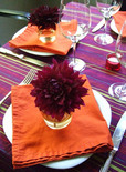 Thanksgiving tablescape idea using individual flowers.