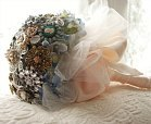 bridal bouquet made from jewelry brooches