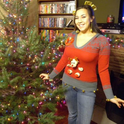 Upcycled plush Christmas Sweater