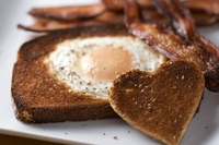 Heart shaped egg-in-the-hole breakfast