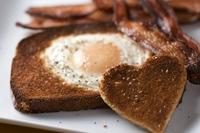 Heart shaped egg-in-the-hole breakfast