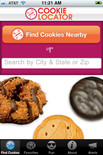 Screen shot of girl scout cookie finder iPhone application.