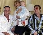 elton john, david furnish and their son with barbara walters