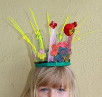 girl wearing homemade crown.