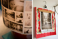 photo collage lamp shade and crafted photo collage hanging art piece