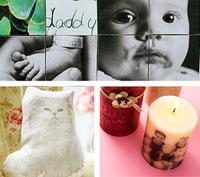 Photoblock collage, photo transfer handmade pillow, photo transferred candles.