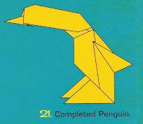folding an origami penguin