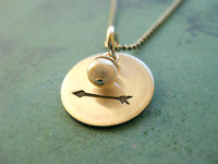 necklace with arrow stamped silver disc and fresh water pearl