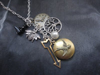 charm necklace with Hunger Games charms
