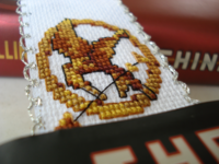 cross stitched mocking jay bookmark
