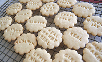 sugar cookies with Hunger Games themed quotes