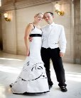 wedding dress decorates with laser-cut patterns