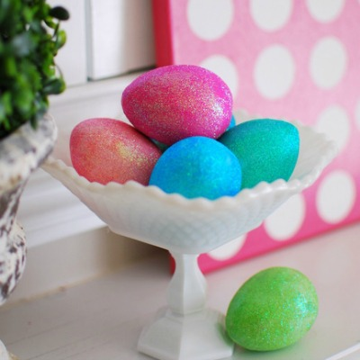 sequin coated easter eggs in pastel colors