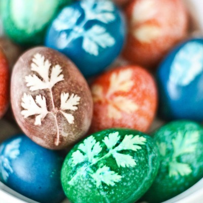 stamped herbs on Easter Eggs