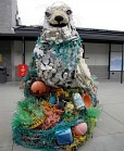 sculpture made from found trash