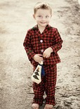 young boy in handmade pajamas