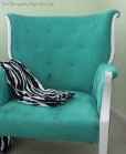 vintage chair with blue upholstery