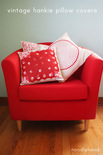 chair with pillows that look like handkerchiefs