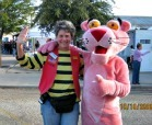 A woman poses with the pink panther at the Old Sorehead Trade Days.