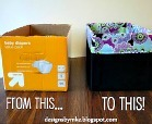 Adorable two fabric diaper box