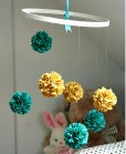Teal and Sunflower Yellow Fabric Pom Pom Mobile