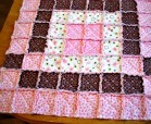 Pink and Brown Baby Rag Quilt