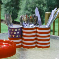 4th of July Craft--buffet silverware holders