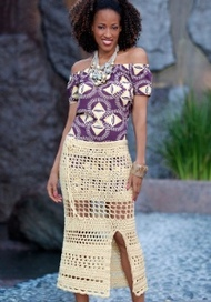 woman wears crochet skirt