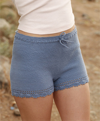 woman wears crochet shorts