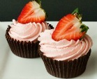 Strawberry White Chocolate Mousse filled Chocolate Cups