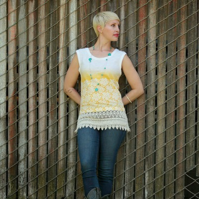 refashioned T-shirt with spray-painted lace