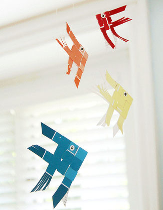 paint chip fish mobile