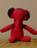 Elephant made from pink and black socks.