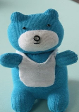 Teddy bear made from blue and white socks.