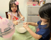 kids making papier mache