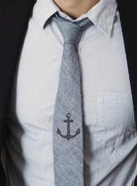 Stencil Tie with Anchor Mens Fashion