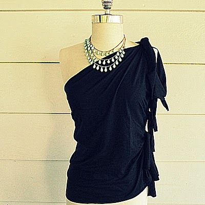 One-shoulder top made from a T-shirt