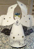 A Christmas angel made from a paper plate.