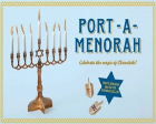The Port-A-Menorah with a menorah and two dreidels.