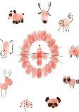 Various animals made from fingerprints